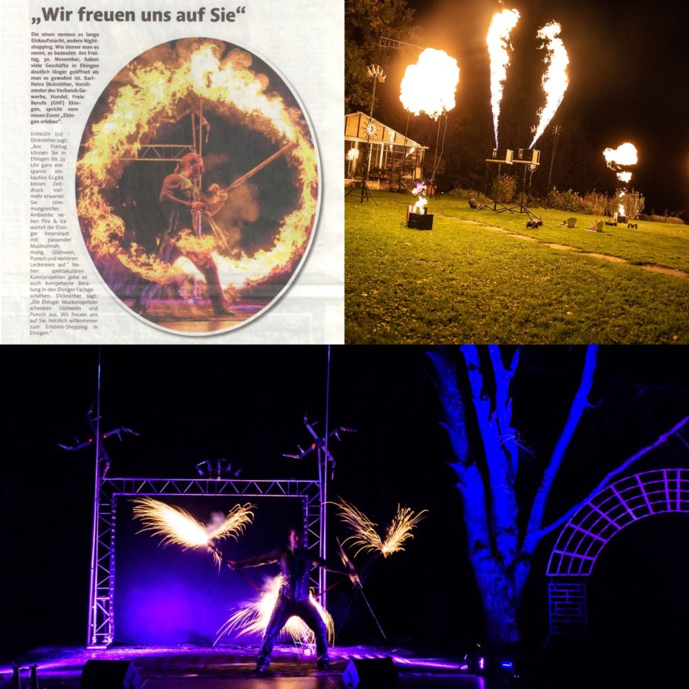Musiksynchrone Flammenshow in Ehingen